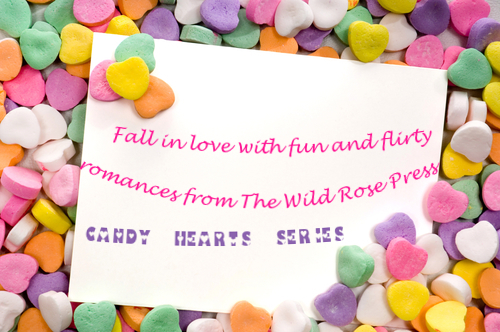 white notecard surrounded by candy conversation hearts- blank